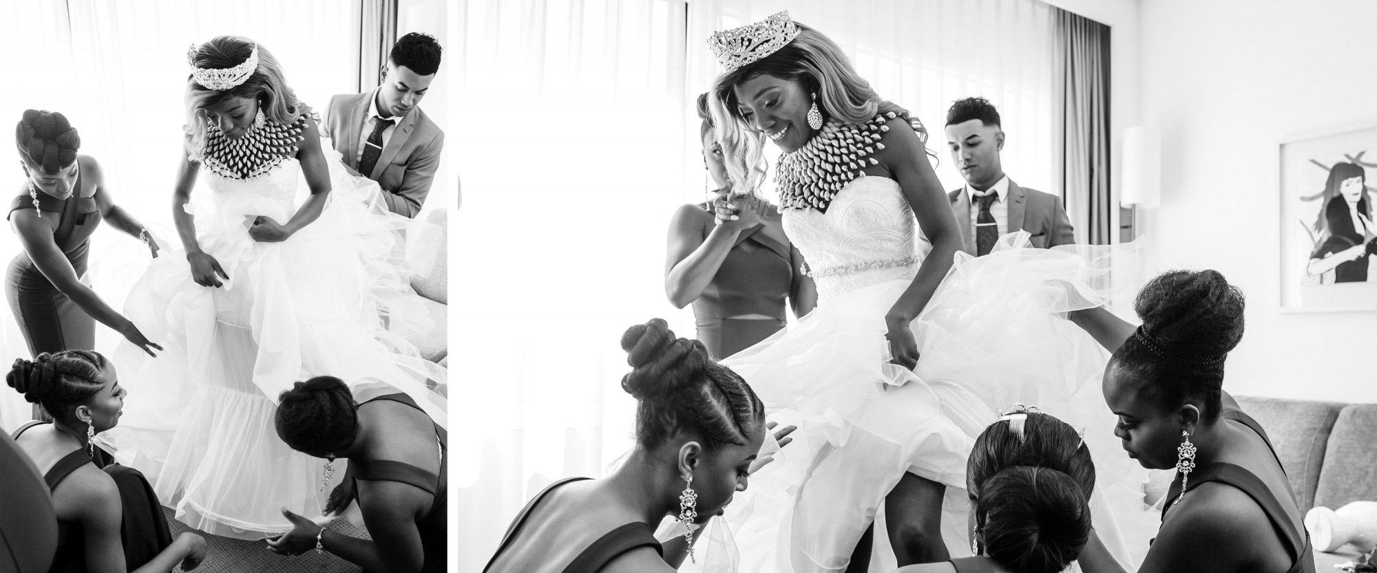 Zwart wit huwelijks fotografie
